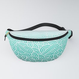 Faded teal blue and white swirls doodles Fanny Pack
