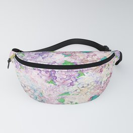 Pastel Purple and blue Lilac & Hydrangea - Flower Design Fanny Pack