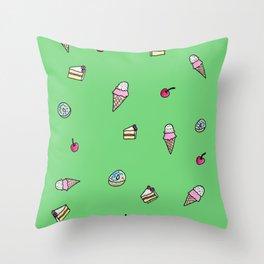 Dessert Pattern Green Throw Pillow