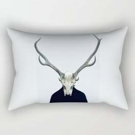 Living Skull and Horns Rectangular Pillow