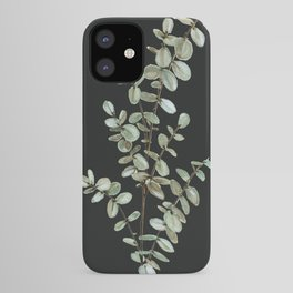 Baby Blue Eucalyptus Watercolor Painting on Charcoal iPhone Case