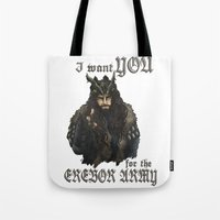 thorin Tote Bags featuring Uncle Thorin by AlyTheKitten