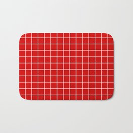 Rosso corsa - red color - White Lines Grid Pattern Bath Mat
