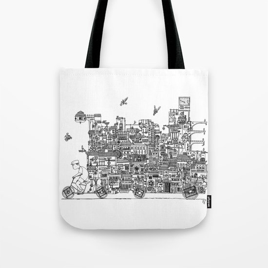 Busy City – On Your Bike Tote Bag