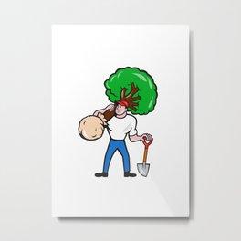 Gardener Arborist Carrying Tree Cartoon Metal Print