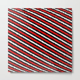 Jiggly Speckled Red Black and White Diagonal Pattern Metal Print