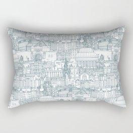 Edinburgh toile denim white Rectangular Pillow