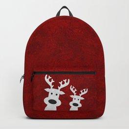 Christmas reindeer red marble Backpack