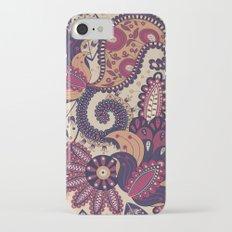 Maroon Boho Paisley & Floral Pattern Slim Case iPhone 7