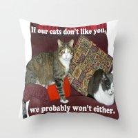 meme Throw Pillows featuring Cat Meme by Frankie Cat