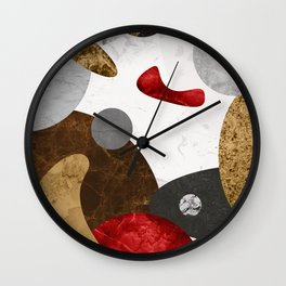 MARBLE SPHERE GALAXY GOLD RED GREY Wall Clock