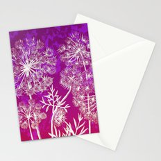 dandelions on purple and pink Stationery Cards