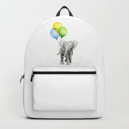 Elephant Watercolor Baby Animal with Balloons Blue Yellow Green Backpack