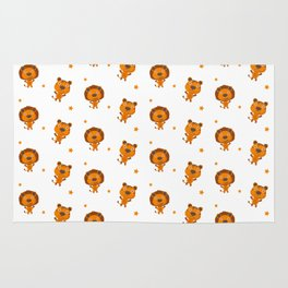 Cartoon cute child pattern with lions Rug