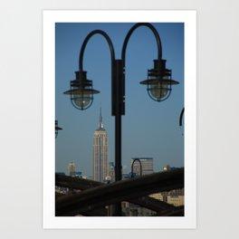New York City and Pier Lights 2009 Art Print
