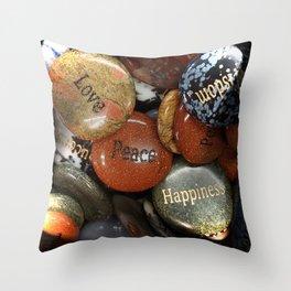 Love, Peace & Happiness Rocks Throw Pillow