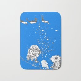 Two Tailed Duck and Jellyfish Royal Brilliant Blue Bath Mat