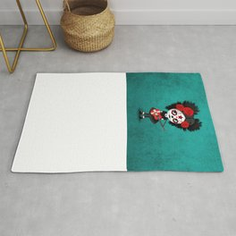 Day of the Dead Girl Playing Danish Flag Guitar Rug