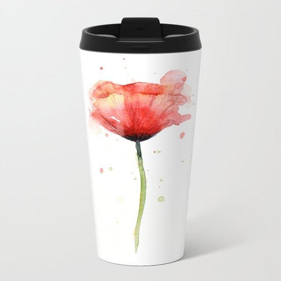 Red Poppy Watercolor Flower Floral Metal Travel Mug
