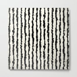 Vertical Ivory Stripes Metal Print