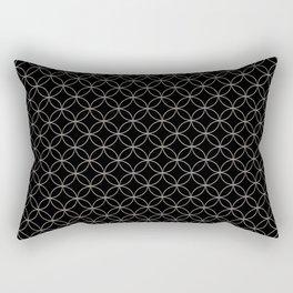 Silver Overlapping Circles on Black Rectangular Pillow