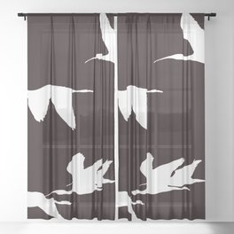 White Silhouette of Glossy Ibises In Flight Sheer Curtain