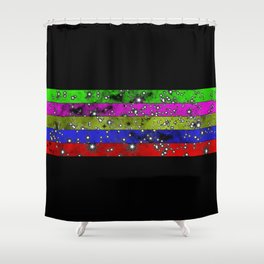Stars N Stripes - Starry pattern in block colour stripes Shower Curtain