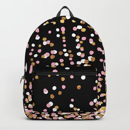 Floating Dots - White, Gold and Pink on Black Backpack