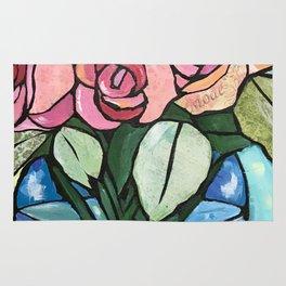 Roses in Blue vase collage Rug