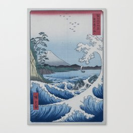 Sea Off Satta - Japanese Woodblock Print by Hiroshige Canvas Print