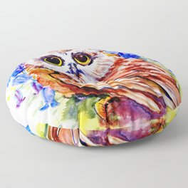 Owl Who Loves Bluebell Flowers, Owl art, Bright colored Owl design Floor Pillow