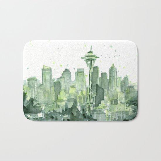 Seattle Watercolor Painting Bath Mat