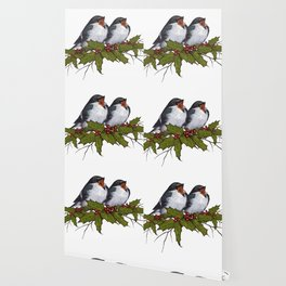 Christmas Illustration: Singing Birds With Holly Leaves, Twigs Wallpaper