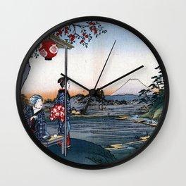 Utagawa Hiroshige The Teahouse with the View of Mt. Fuji Wall Clock