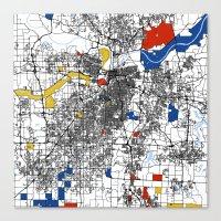 kansas city Canvas Prints featuring Kansas city mondrian map by Mondrian Maps