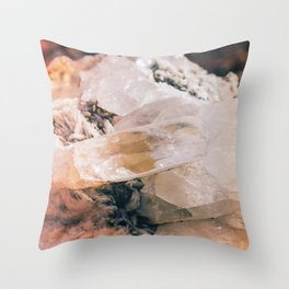 Dreamy Large Quartz Crystals Throw Pillow