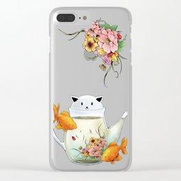 Flowering Tea in a Cat Teapot Clear iPhone Case