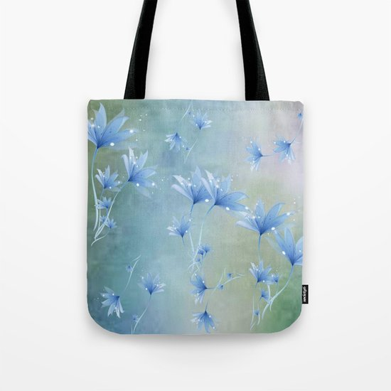Fantasy Floating Blue Flowers Abstract Tote Bag