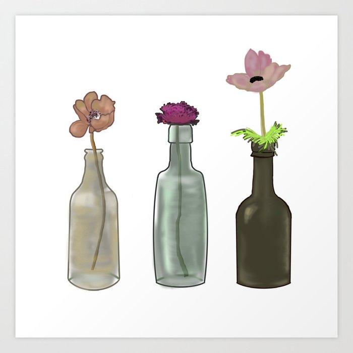 flowers in glass bottles . Pastel colors . artwork Art Print
