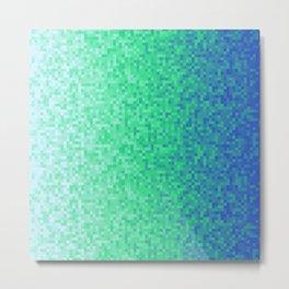 Deep Sea Green Blue Pixilated Gradient Metal Print