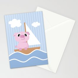 Mobil series pig sailboat Stationery Cards