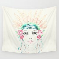 headdress Wall Tapestries featuring Flower Indian Headdress by Lisa Bulpin