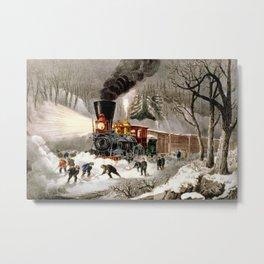 Snow Bound: Vintage Railroad Scene Metal Print
