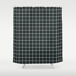 Charleston green - grey color - White Lines Grid Pattern Shower Curtain