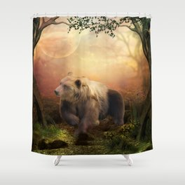 Awesome bear in the night Shower Curtain