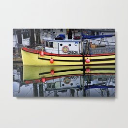 Yellow Fishing Boat in a Harbor on Vancouver Island in British Columbia Metal Print