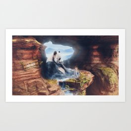 Panda Spa Art Print