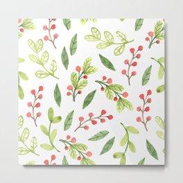 Bright Watercolor Christmas Mistletoe Pattern Metal Print
