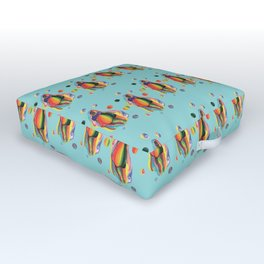 The Rainbow Girl Wave on Blue Outdoor Floor Cushion