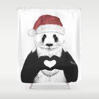 santa Shower Curtains featuring Santa panda by Balazs Solti